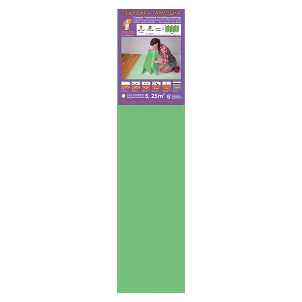 Подложка-Гармошка 1050х250х3 зеленая (уп.5,25м2) ТМ Solid