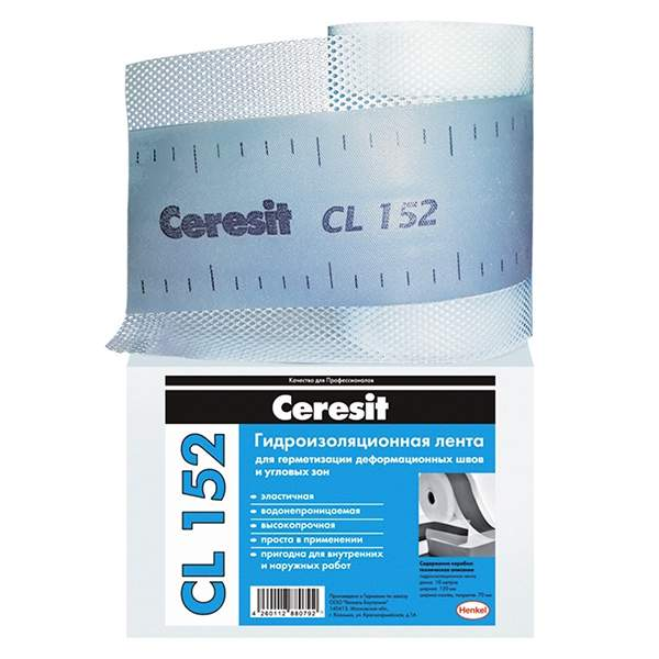 Лента уплотнительная Ceresit CL 152, 10м (водонепроницаемая лента для герметизации швов)