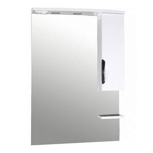 Зеркальный шкаф Мессина 70см с полкой белый ASB-Mebel