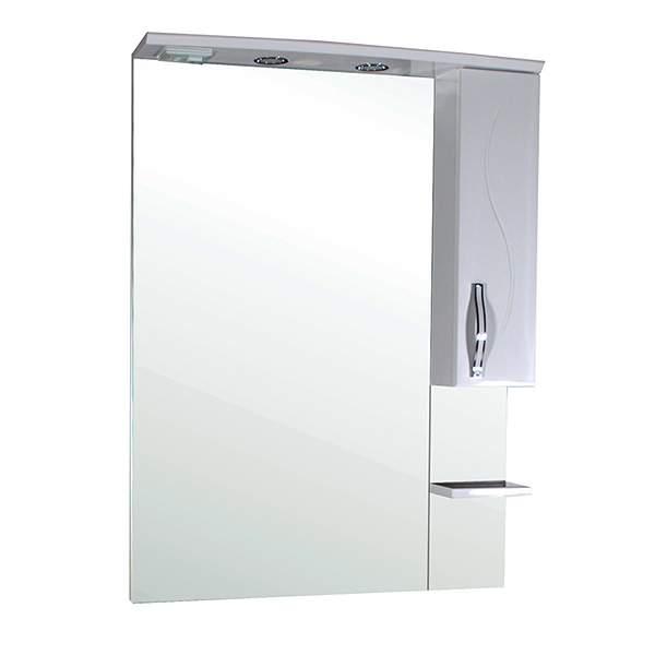 Зеркальный шкаф Грета 80см с полкой белый ASB-Mebel