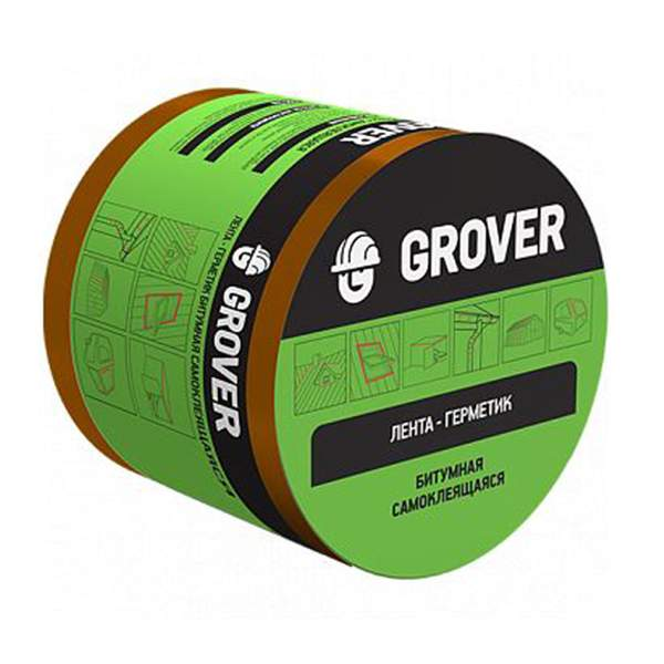 Лента-герметик битумнная односторонняя Grover серебристая 10мх10см