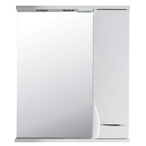 Зеркальный шкаф Альфа 65см правый ясень белый ASB-Mebel