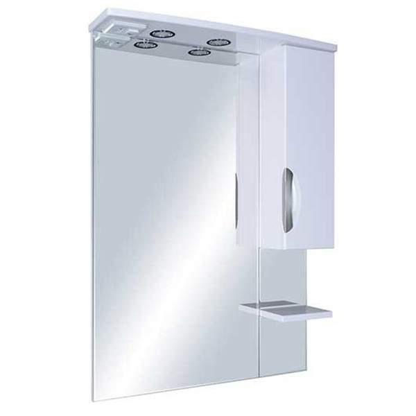 Зеркальный шкаф Мессина 80см с полкой белый ASB-Mebel